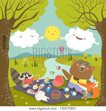 Animals at picnic in forest. Vector illustration