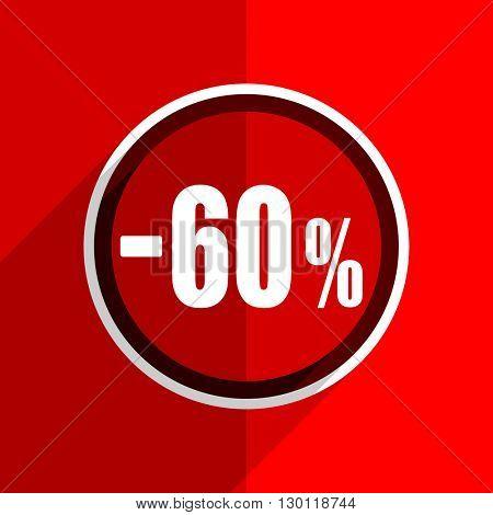 red flat design 60 percent sale retail web modern icon stock photo