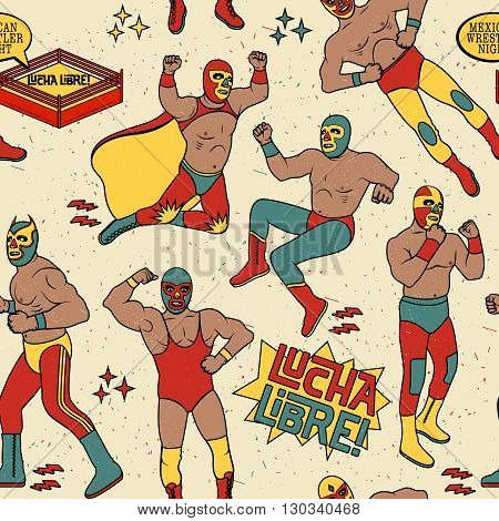 Lucha Libre Seamless Pattern. Mexican Wrestler Night. stock photo