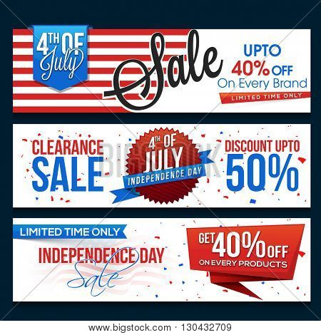 4th of July Sale website header or banner set, Paper Sale Tags, Limited Time Sale with Discount Offe