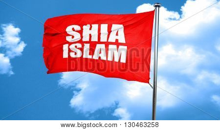 shia islam, 3D rendering, a red waving flag stock photo