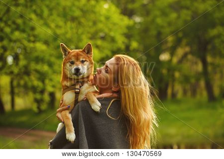 Girl and dog Shiba Inu embrace in a spring park. Walking with a pet. Pedigree dog. Walking dogs. Dog happiness.