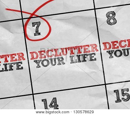 Concept image of a Calendar with the text: Declutter Your Life stock photo