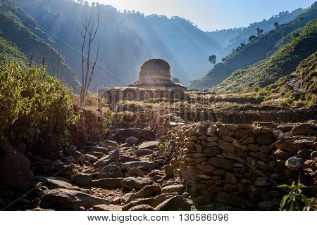 View of famous Stupa in Shingardar valley Swat ,Pakistan stock photo