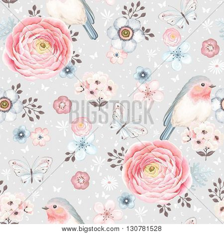 Seamless pattern with birds Robin, butterflies, pink ranunculus and small flowers in vintage waterco