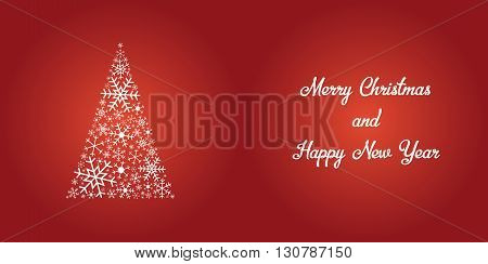 Christmas treen made of snowflakes with Merry Christmas and Happy New Year text shiny white on red background can be folded in half for perfect Christmas card. snowflake christmas card. snowflake card. red christmas card. festive. merry christmas card. ha stock photo