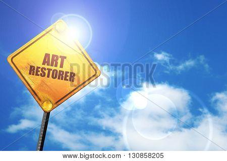 art restorer, 3D rendering, a yellow road sign stock photo