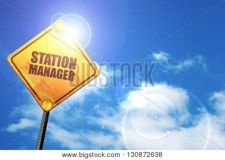 station manager, 3D rendering, a yellow road sign stock photo