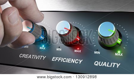 Hand turning knobs where it is written the words creativity quality and efficiency. Concept for communication on company values. Composite image between an photography and a 3D background.