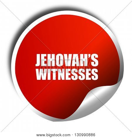 jehovah's witnesses, 3D rendering, red sticker with white text stock photo