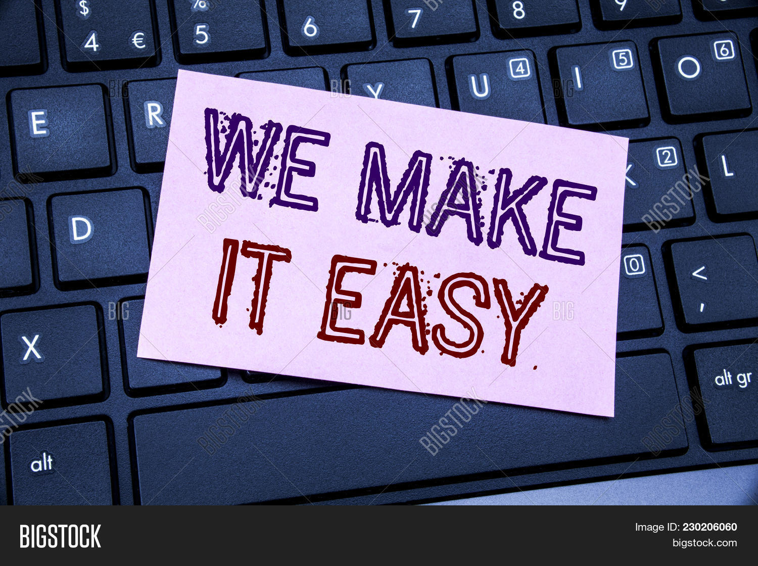 Handwriting Announcement text showing We Make It Easy. Business concept for Help Quality Solution written on sticky note paper on black keyboard background.