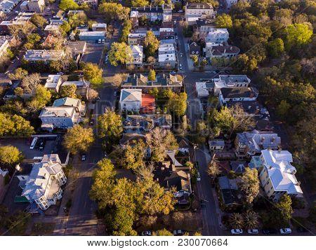 Aerial top down view of historic neighborhood in Savannah, Georgia.