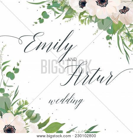Vector floral wedding invite, invitation, save the date card design with watercolor mauve pink anemones, eucalyptus leaves, cute white lilac flowers, greenery plants & leaves. Elegant woodsy template stock photo
