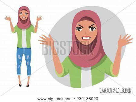 Angry arabian women. Negative Emotions. Bad Days. Bad Mood Stressful women. Muslim Woman wearing Hijab stock photo