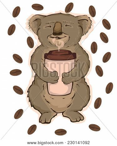 vector illustration, koala sitting on a tree and enjoying fragrant coffee stock photo