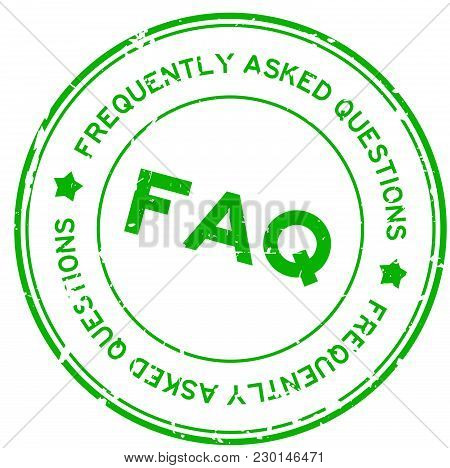 Grunge green FAQ (Abbreviation of Frequently Asked Questions) round rubber seal stamp on white background stock photo