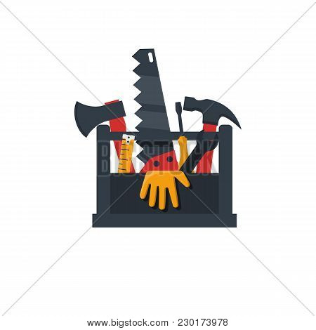 Toolbox flat design icon. Vector illustration cartoon style. Set tools handyman in box. Template banner advertising renovations. Toolbox for repair and maintenance. stock photo