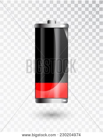Low battery. Battery charging status indicator. Glass realistic power battery illustration on transparent background. Full charge total discharge. Charge status. Vector. stock photo
