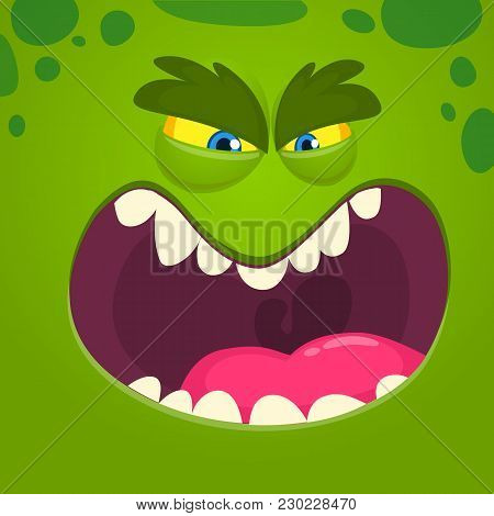 Angry cartoon monster face. Vector Halloween green monster character stock photo
