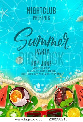 Summer party poster invitation. Top view on summer decoration with fresh cocktails and tropical fruit on beach. Vector illustration. Invite to nightclub. stock photo