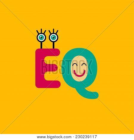 EQ icon. Logo, sign, symbol emotional intelligence, psychology therapy empathy Vector illustration stock photo