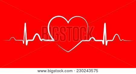 Heart beat monitor pulse line art icon for medical apps and websites. breathing and alive sign red love heart. Red Medic blood pressure , cardiogram, health EKG, ECG logo. Heart in flat outline style. stock photo