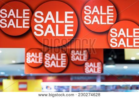 Sale advertisement in the shopping department store for shopping, business fashion and advertisement concept stock photo