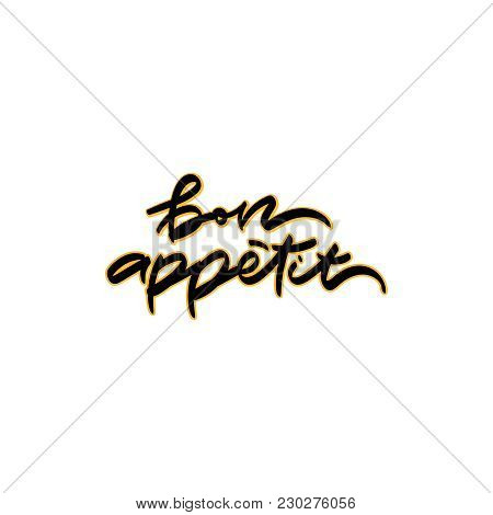 Bon appetit lettering design. Vector illustration. Typography design elements for prints, cards, posters, products packaging, branding. stock photo