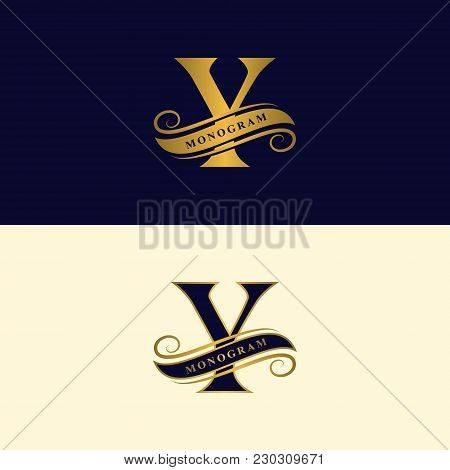 Gold letter Y. Calligraphic beautiful logo with tape for labels. Graceful style. Vintage drawn emblem for book design, brand name, business card, Restaurant, Boutique, Hotel. Vector illustration stock photo
