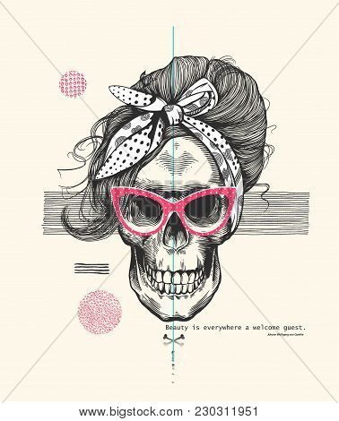 Women's skeleton skull in pop art woodcut style wearing cool sunglasses with fashionable hairstyle and scarf against abstract background. Vector illustration can be used as t-shirt print, poster, postcard etc stock photo