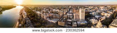 180 degree aerial panorama of Savannah, Georgia.