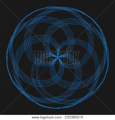 Abstract spirograph element for decorative design. Vector abstract complex circular pattern. Vector illustration. Abstract decorative floral spirograph circular element. stock photo