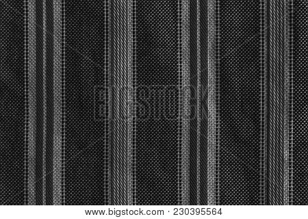 Part of striped shirt with buttons, monochrome texture or background. stock photo