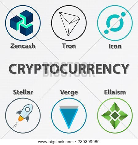 Set of 6 crypto currency icon. Colorful zencash, tron, icon, stellar, verge and ellaism coin stock photo