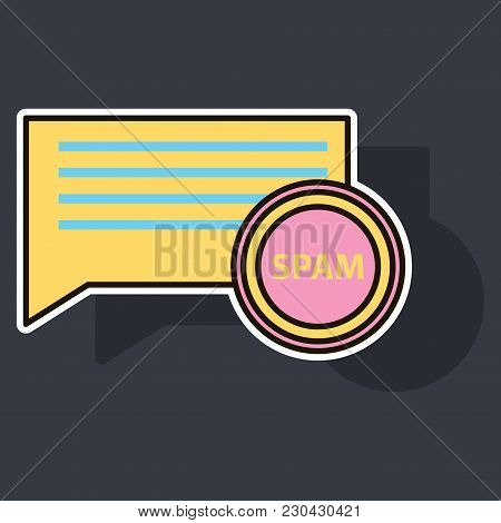 Sticker Spam Email Warning Window Appear On Laptop Screen. Concept of virus, piracy, hacking and security. Envelope with spam. Website banner of e-mail protection, anti-malware software. Flat vector. stock photo