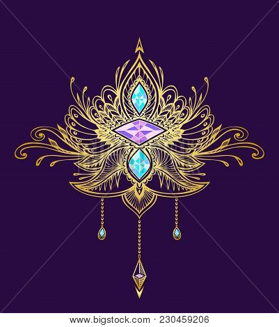Abstract Zen tangle  symbol in Boho Indian Asian Ethno  style  with Gems gold on black for decoration T-shirt or other things stock photo