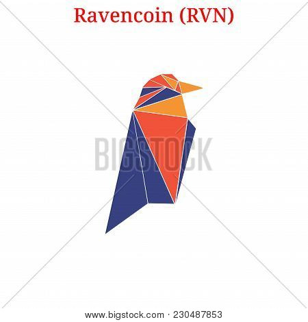 Vector Ravencoin (RVN) digital cryptocurrency logo. Ravencoin (RVN) icon. Vector illustration isolated on white background. stock photo
