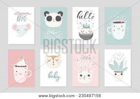 Collection of 8 baby shower posters, vector invites. Cards with cute objects on white background, pastel colors. Wedding, save the date, baby shower, bridal, birthday, Valentine's day. Vector stock photo