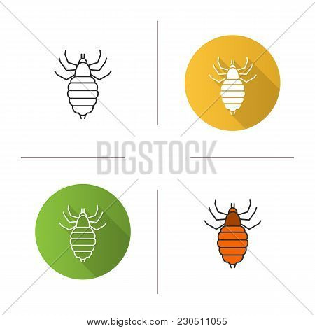 Louse icon. Flat design, linear and color styles. Human parasite. Isolated vector illustrations stock photo