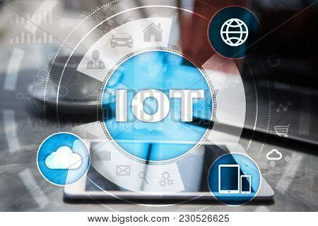 IOT. Internet of Thing concept. Multichannel online communication network digital 4.0 technology internet wireless application development mobile smartphone app. stock photo