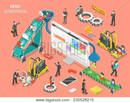 Lead generation flat isometric vector concept. People are loading digital marketing attributes into a funnel from one side and getting a new leads from other side. stock photo