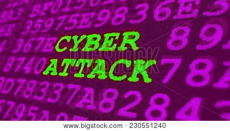 Cyber attack and computer security warnings - cyber attack - green words and numbers on ultraviolet background. Data safety and digital technology in violet screen stylized graphic. stock photo