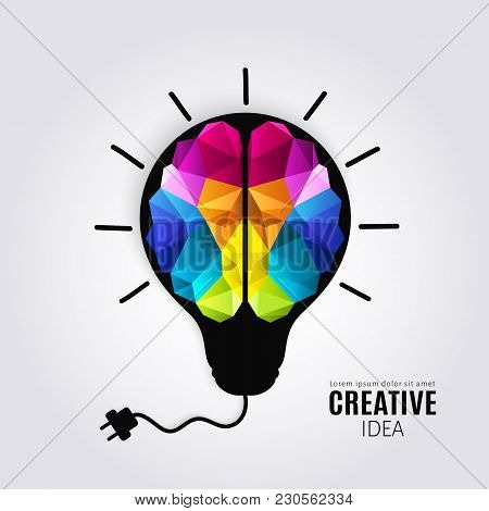 Creative concept of the human brain inside lightbulb with connected electricity wire. Polygon style. Vector. stock photo