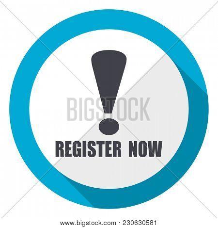 Register now blue flat design web icon stock photo