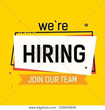 We are hiring, join our team lettering with abstract frame on yellow background. Inscription can be used for announcements, leaflets, posters, banners. stock photo