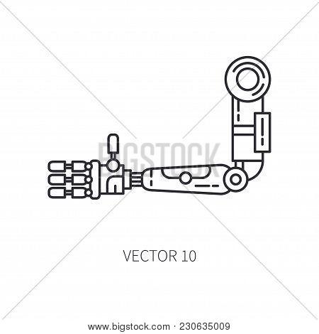Bionic robot arm prosthesis line icon. Bionic prosthesis limb. Biotechnology futuristic medicine. Future technology. Medical artificial mechanical cyborg implant sign and symbol. Transplantation. stock photo