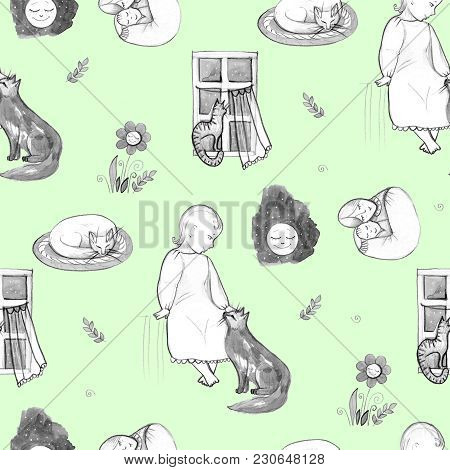 Goodnight set, hand-drawn design elements. Mom and baby stock photo