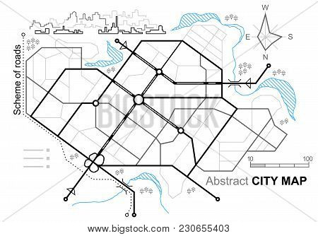 City map. Line scheme of roads. Town streets on the plan. Urban environment, architectural background. Linear architectural sketch general plan. Vector stock photo