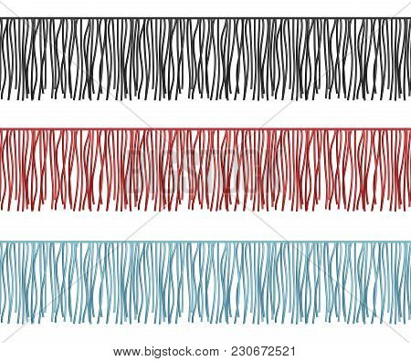 Ruffles edge, fringe seamless rows vector garments component. Illustration of brush border with tassel and trim stock photo