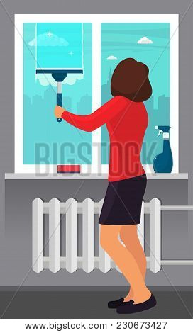Woman washing the window with a scraper. Window cleaning. Scraper glides over the glass, making it clean. Spray glass cleaner and a sponge on windowsill. Vector illustration in flat style stock photo